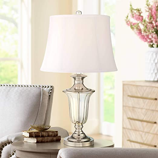 Courtney Traditional Table Lamp Nickel Bell Shade for Living Room Bedroom  Bedside Nightstand Office Family - Vienna Full Spectrum