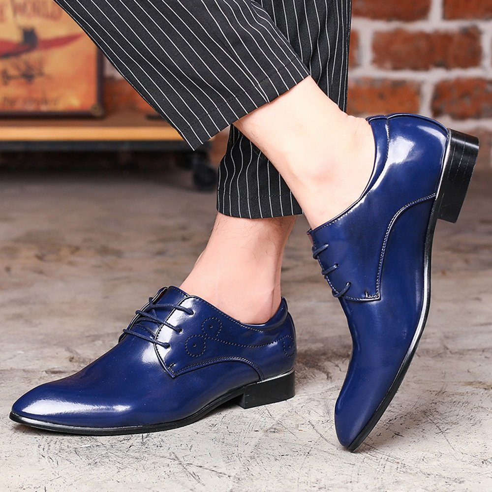 Mens Leather Casual Shoes Smooth Upper PU Leather Lace Up Pointed Toe Breathable Lined Oxfords,Very Stylish Color : Blue, Size : 9.5MUS