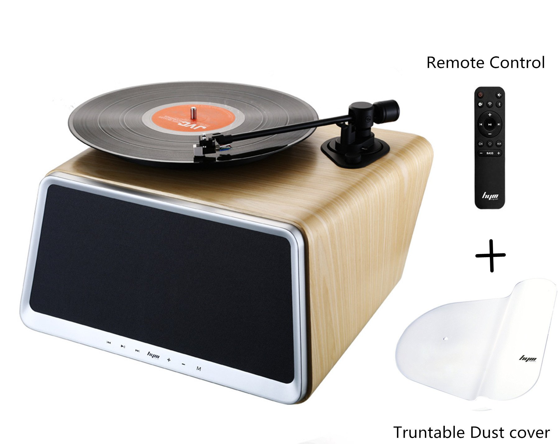 HYM Seed Professional Turntable Stereo System, Smart Vinyl Records Turntable Built in 80Watt HiFi Speakers Bluetooth Wifi AUX-in USB w/Turntable Dust Cover&Remote Controller for Vinyl Records Player by HYM (Image #1)