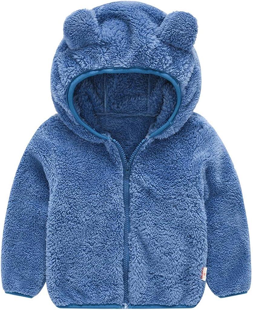 QinMMROPA Bebe Niños Niñas Abrigo de Oreja Abrigo con Capucha y Cremallera Gruesa Chaqueta Disfraz Invierno recién Nacido Polar AbrigoFelpaBebe