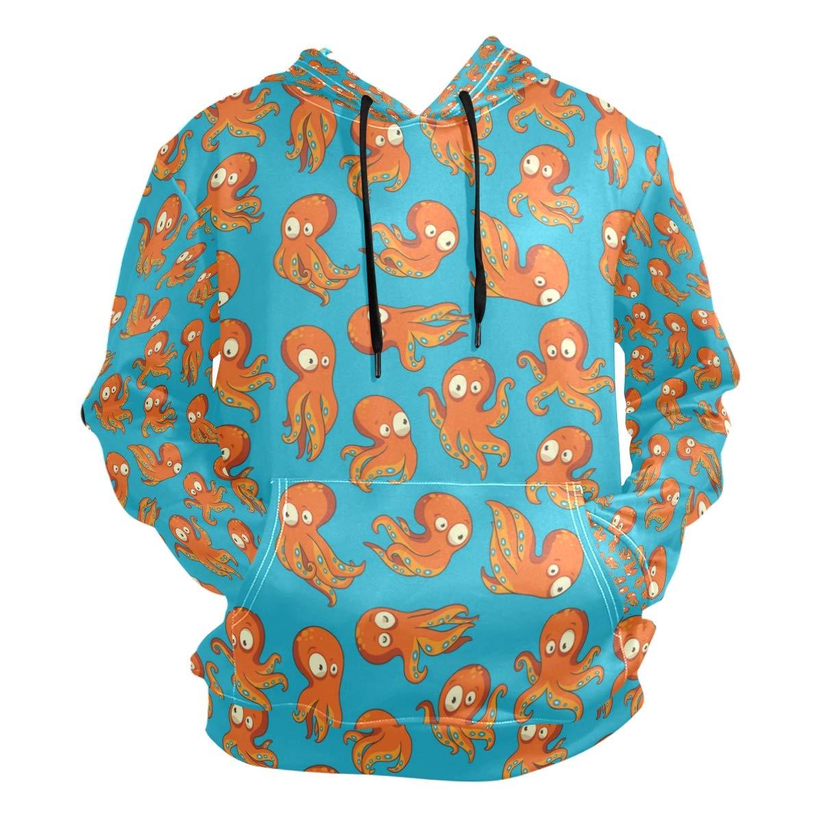Charlley Lee Mens Hooded Sweatshirt Octopuses Prange Fashion Hoodie