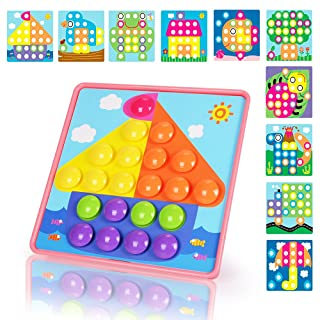 NextX Button Art Toddler Game, Color Matching Mosaic Pegboard Educational Toy, Toddler Activities Learning Button Blocks, Stem Toys for 2+ Years Old for Boys & Girls