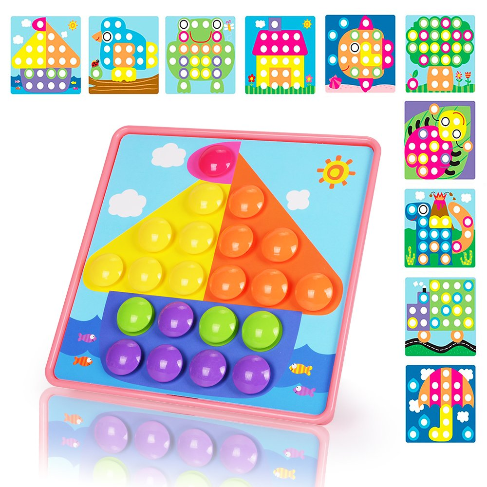 NextX Button Art Preschool Learning Toys Color Matching Puzzle Games Best Gift for Girls (Pink)