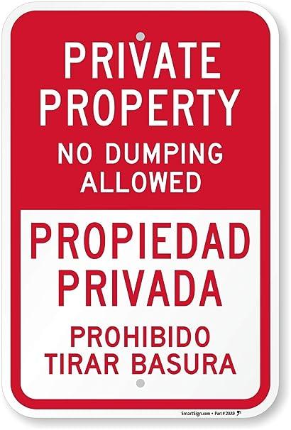 Amazon.com: Propiedad Privada no Permitido, señal, Bilingüe ...