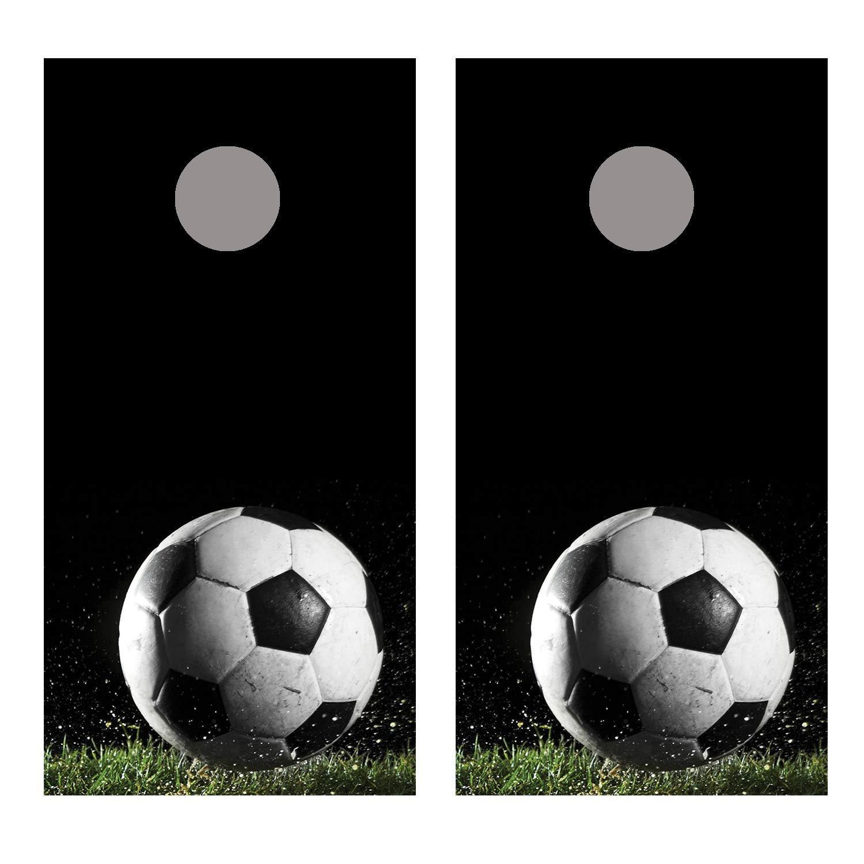 Let's Print ビッグサッカーボール1 コーンホールボードデカールラップ B07JVGSDX9 ラミネート