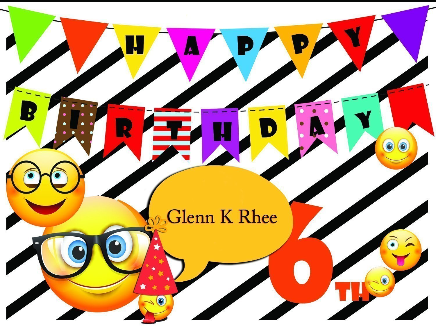 Custom Emoji Birthday Poster With Flags On A Black And White Striped Background For Kids