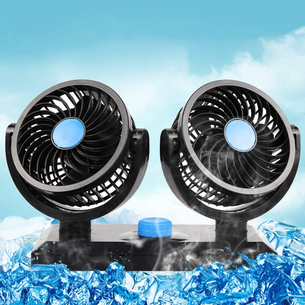 Grebest Car Fan Car Electrical Appliances Car Fan 360 Degrees Rotating Single//Dual Head Auto Car Vehicle Summer Cooling Air Fan 2#