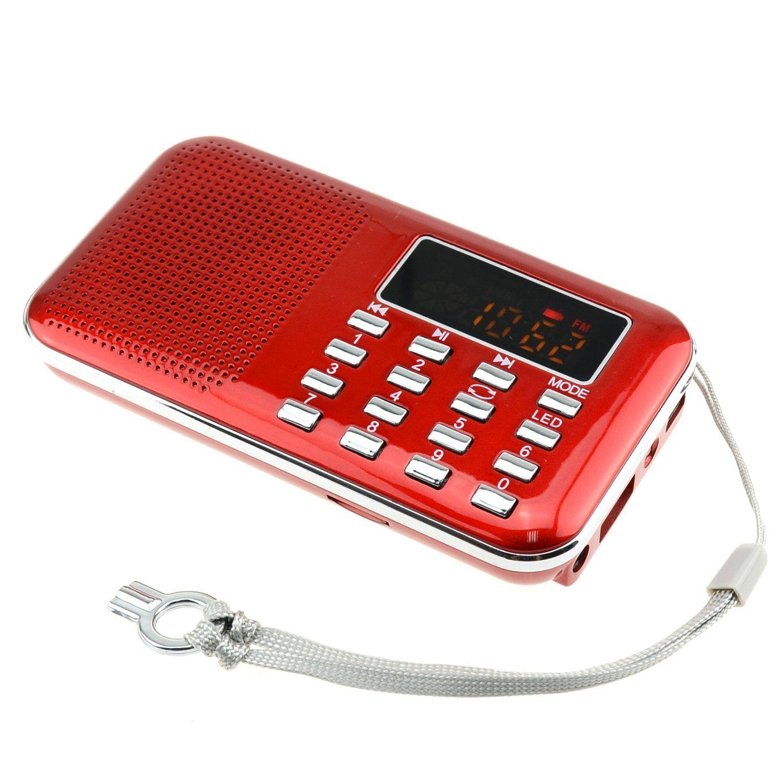 iMinker Mini Portable Digital AM/FM Radio Media Speaker MP3 Music Player Support TF Card/USB Port with LED Screen Display, Emergency Flashlight, 3.5mm Earphone Jack 3.5mm Earphone Jack (Black)