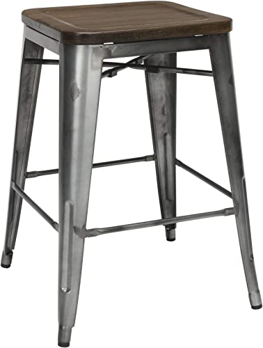 OFM 161 Collection Industrial Modern 4 Pack Fully Assembled 26 Backless Metal Stools w Solid Ash Wood Oversized Seats, Galvanized Steel Bar Stools, in Gunmetal Walnut 161-26B-GM-WNT-4