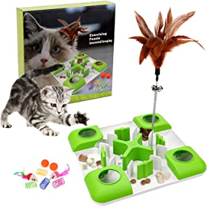 Interactive Treat Maze & Puzzle Feeder for Cats - Puzzle Cat Toy Suitable for Various Cat Entertainment Activities, Cat IQ Training Toys with 3 Level Challenges for Indoor Cats Improve Intelligence