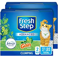 Fresh Step Advanced Cat Litter, Clumping Cat Litter, 99.9% Dust-Free, Gain Scent, 37 lbs Total ( 2 Pack of 18.5 lb Boxes…