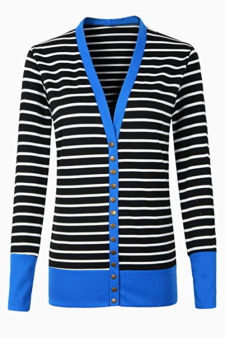 d9b626edf3 RichCoco Women s Striped Snap Button Down Open Front Long Sleeve Contrast  Color Casual Cardigans Sweaters at Amazon Women s Clothing store