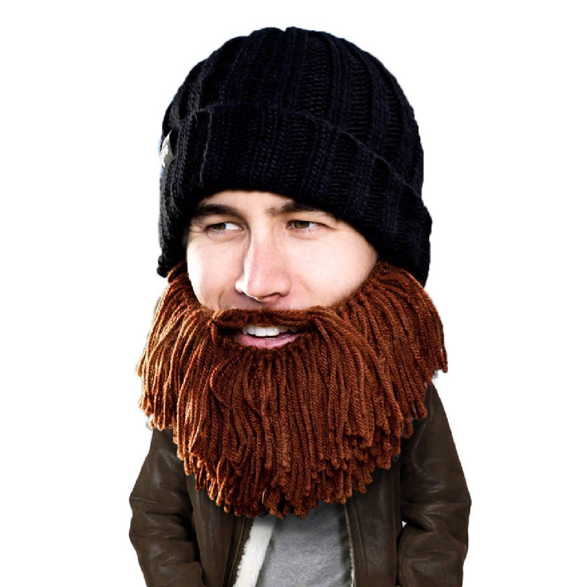 Beard Head Barbarian Vagabond Beanie - Funny Knit Hat and Fake Beard Facemask