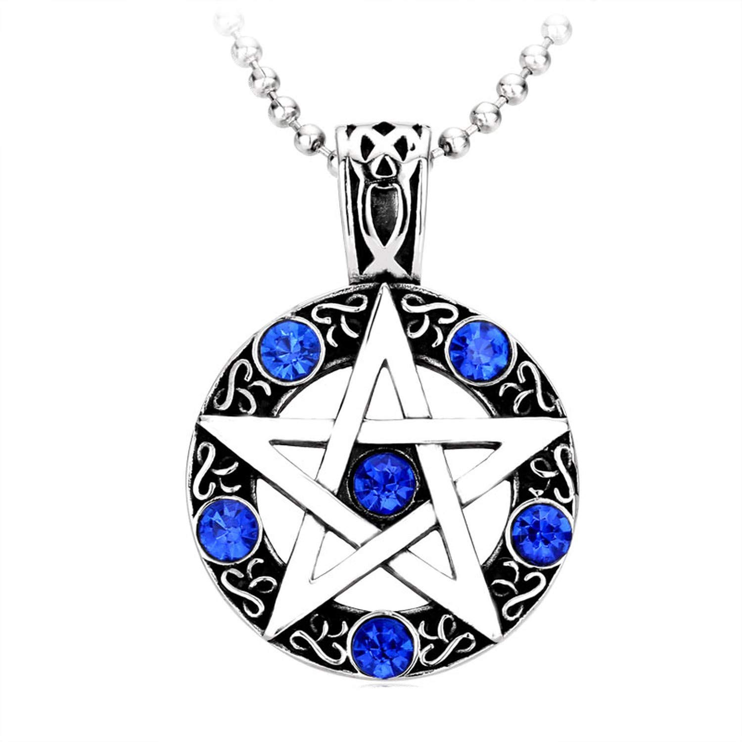 Cool Northern Europe Viking Necklaces for Men Stainless Steel Pedant Trendy Hexagram Blue//Red Crystal