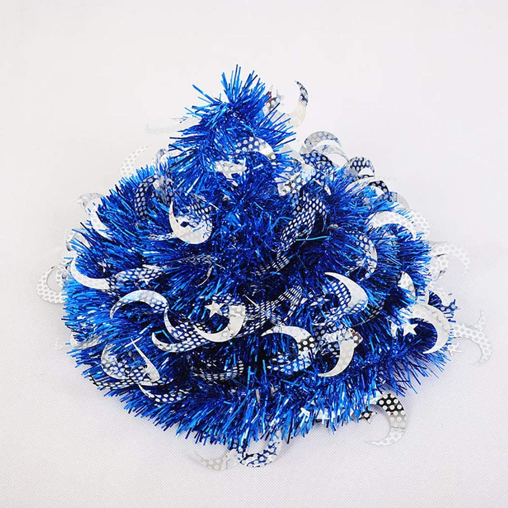 Moon-Blue 5ft Shiny Moon /& Star Christmas Tree Pop-Up Collapsible Tinsel Artificial Christmas Tree w// Stand Christmas Decorations Trees Home Office Christmas Xmas Holiday Display Decor Ornaments