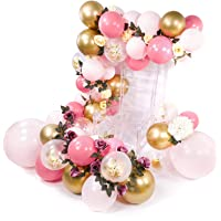 PuTwo Pink Gold Balloons, 44 pcs Pale Pink Balloons Fuschia Balloons Gold Metallic Balloons Gold Confetti Balloon and Giant Balloons for Princess Party, 4 pcs Pink Giant Balloons Included