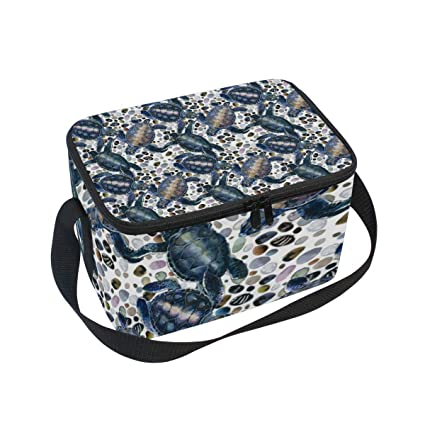 c1ba0c4573 Image Unavailable. Image not available for. Color: Lunch Bag Cooler Tote  Bag Watercolor Sea Turtle Pattern Lunchbox Meal Prep Handbag for Picnic  School