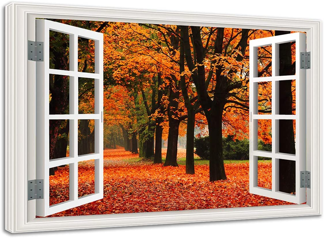 Window View Canvas Wall Art Quiet Lane In The Forest With Red Trees In Autumn 3d Visual Effect View Giclee Print Gallery Wrap Poster Modern Home Decor Framed Ready To Hang