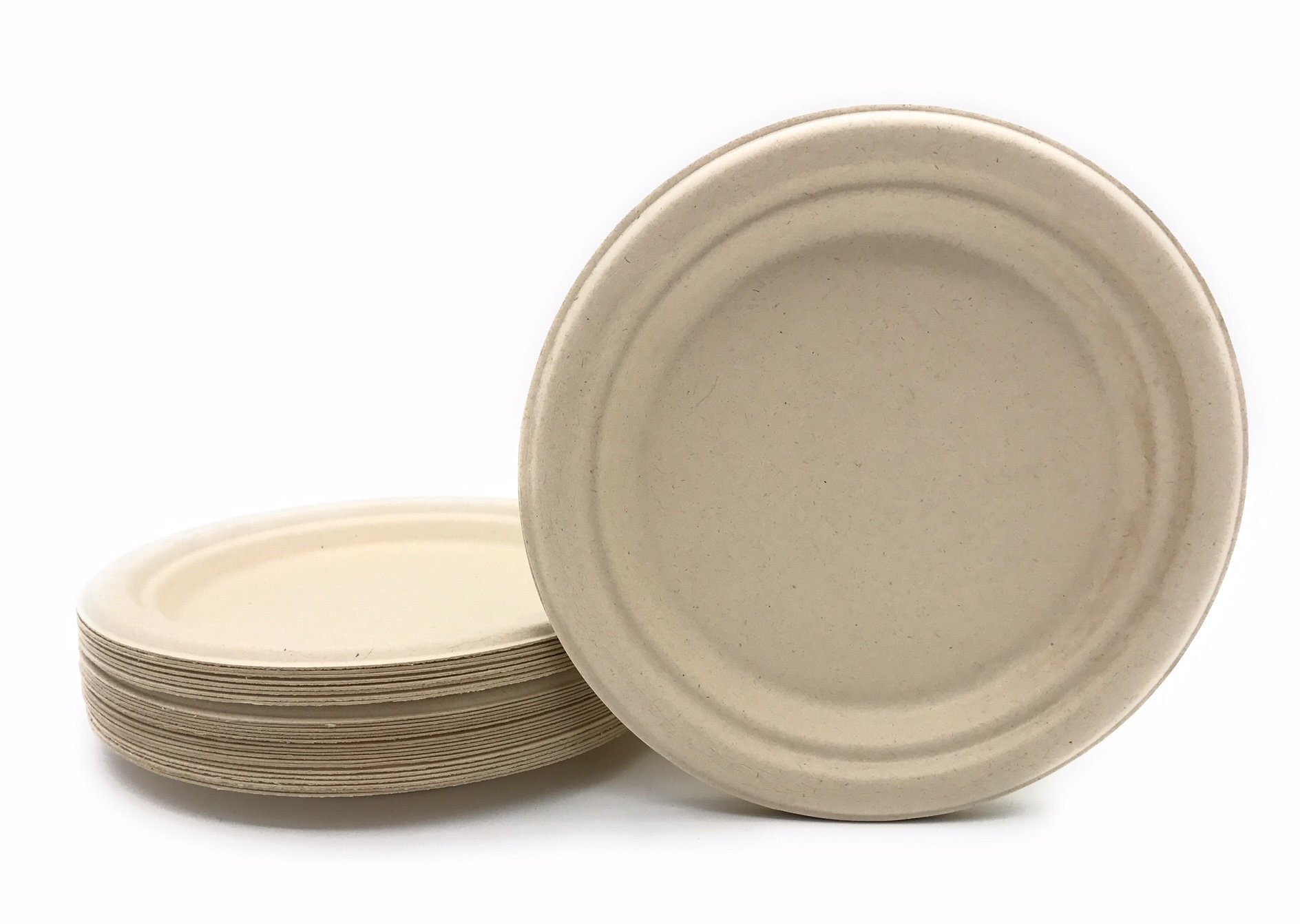 [125 COUNT] 7'' in Round Disposable Plates - Natural Sugarcane Bagasse Bamboo Fibers Sturdy Seven Inch Compostable Eco Friendly Environmental Paper Plate Alternative 100% by-product Tree Plastic Free by Harvest Pack (Image #3)