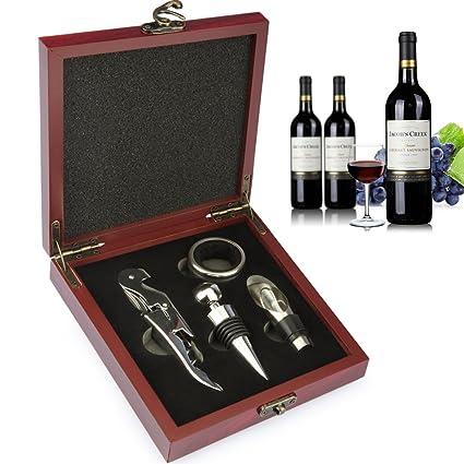 Juego de accesorios para vino Yobansa, en caja de madera, juego de sacacorchos,