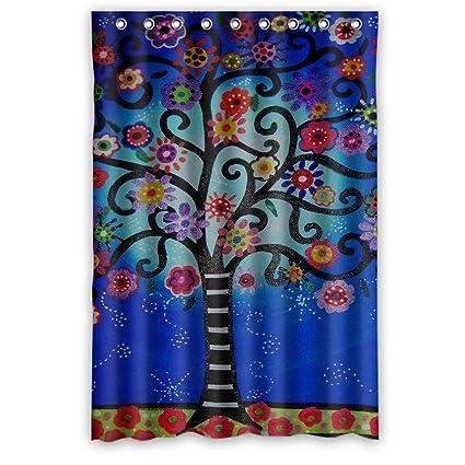 woyua fantástico baño estilo mexicano árbol de flores cortinas de ducha resistente al moho tela de