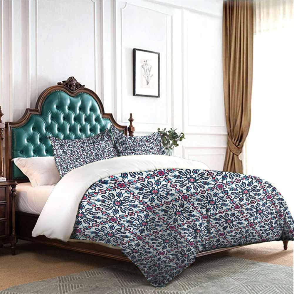 Jktown Arabesque Duvet Cover Size 3 Piece Vintage Flower Design 100% Cotton Bedding Twin