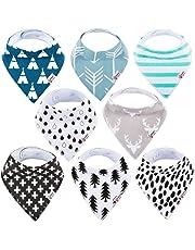 Baby Bandana Drool Bibs Organic 8 Pack for Boys and Girls 100% Absorbent Soft Cotton Bandana Baby Bibs for Teething Feeding