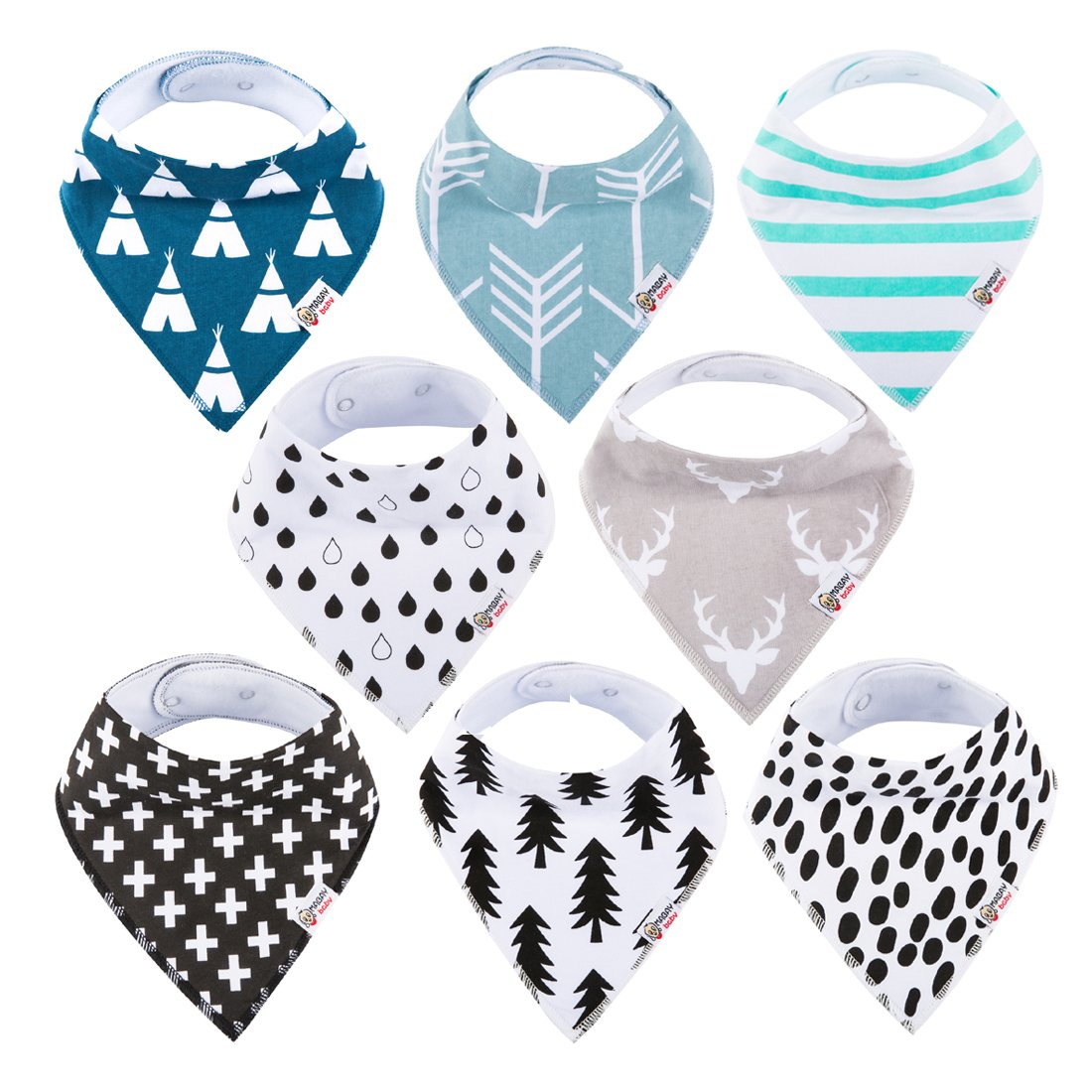 Baby Bandana Drool Bibs Organic 8 Pack for Boys and Girls 100% Absorbent Soft Cotton Bandana Baby Bibs for Teething Feeding Baby Shower Gift (BC073) MABAY baby