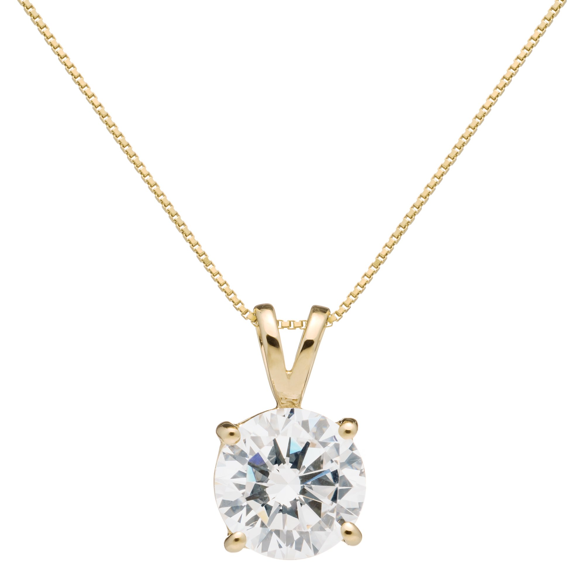 14K Solid Yellow Gold Round Cut Cubic Zirconia Solitaire Pendant Necklace (1.5 Carat), 16 inch .60mm Box Link Chain, Gift Box