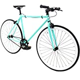 Golden Cycles Fixed Gear Bike Steel Frame Fixie with Deep V Rims-Collection (Breeze, 52)