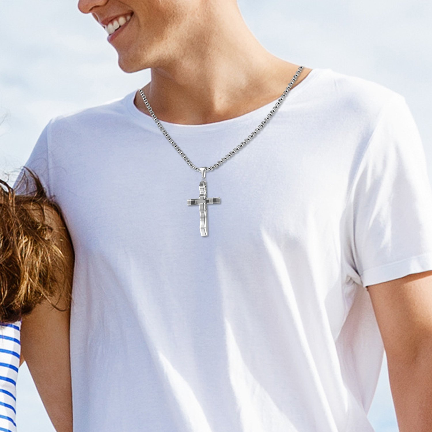 22 inch Chain Flongo Mens Punk Rock Stainless Steel Curved Cross Pendant Necklace Prayer Vintage Christmas