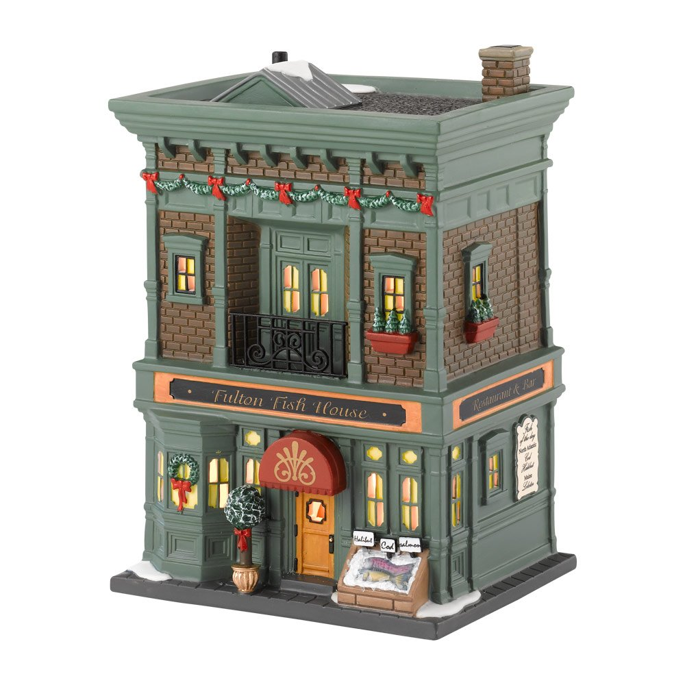 Department 56 Christmas in the City Village Fulton Fish Lit House, 7.48 inch