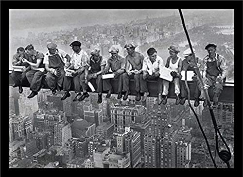 Buyartforless If PA PP0020 36×24 2 Black Plexi Framed Men On Steele Beam Lunchtime ATOP NYC