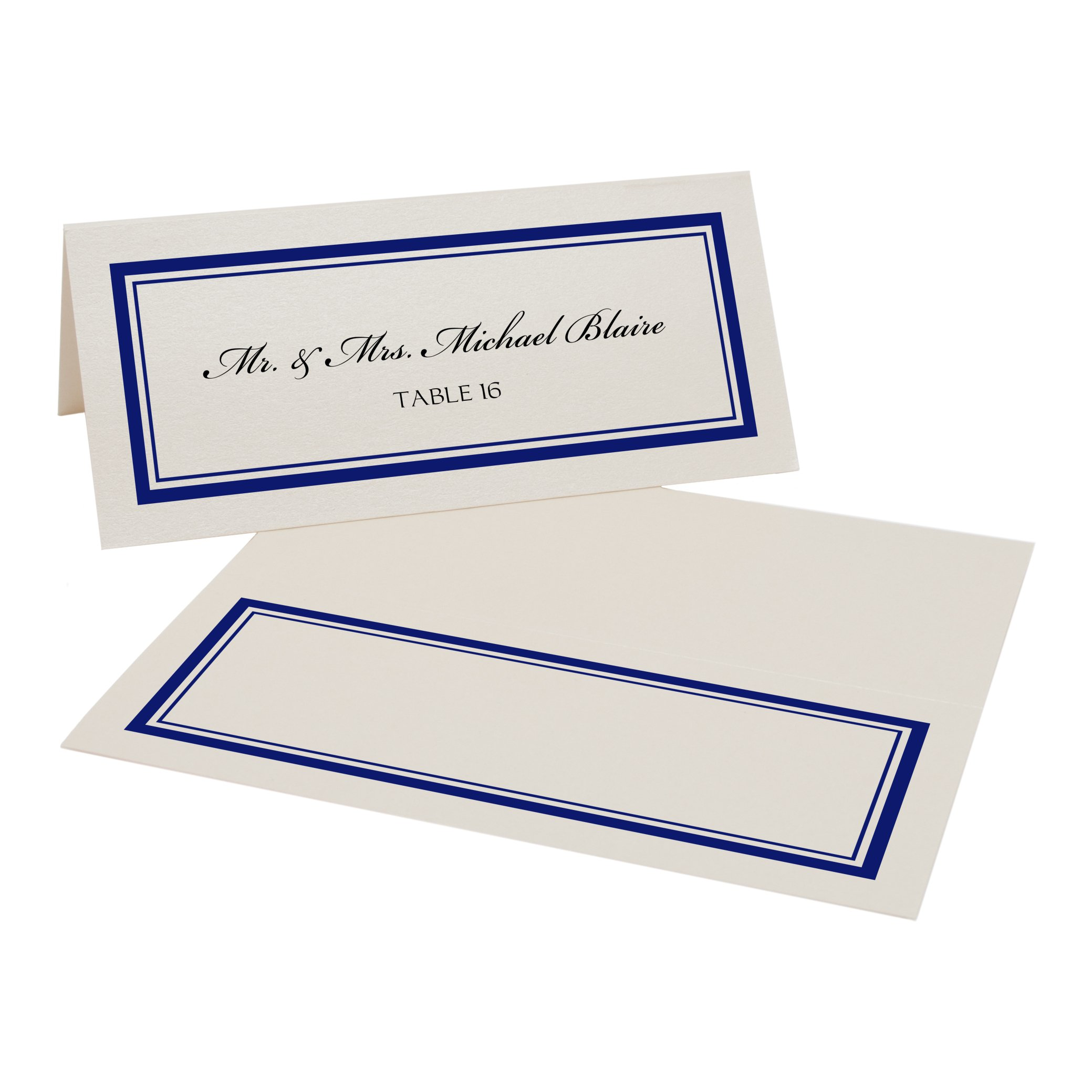 Double Line Border Place Cards, Champagne, Navy, Set of 350