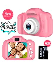 Gifts for 3-8 Year Old Girls Joyjam Kids Camera 8.0 MP Digital Cameras for Children Video Record Electronic Toy Birthday Gifts Pink