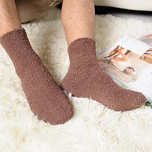 Tinksky Men Coral Fleece Ankle Socks Warm Thick Floor Socks Fluffy Sleep Bed Socks 1 Pair (Coffee) at Amazon Mens Clothing store: