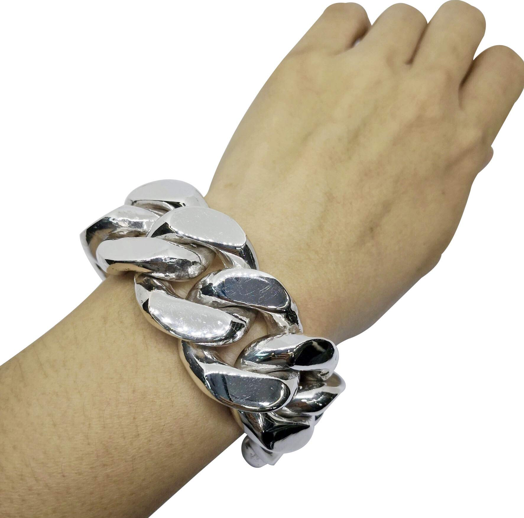 joy-nin 925 Solid Sterling Silver Super Big 30mm Approx 500 Grams Chain Link Men Bracelet with Cleaning Silver Cloth and Velvet Box (8.5)