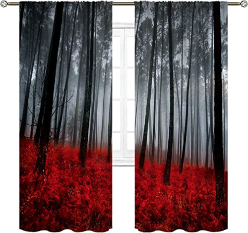 Cinbloo Black and Red Mysterious Forest Curtains Rod Pocket Rainy Foggy Scene Floral Tree Modern Art Printed Living Room Bedroom Window Drapes Treatment Fabric 2 Panels 52 W x 84 L Inch