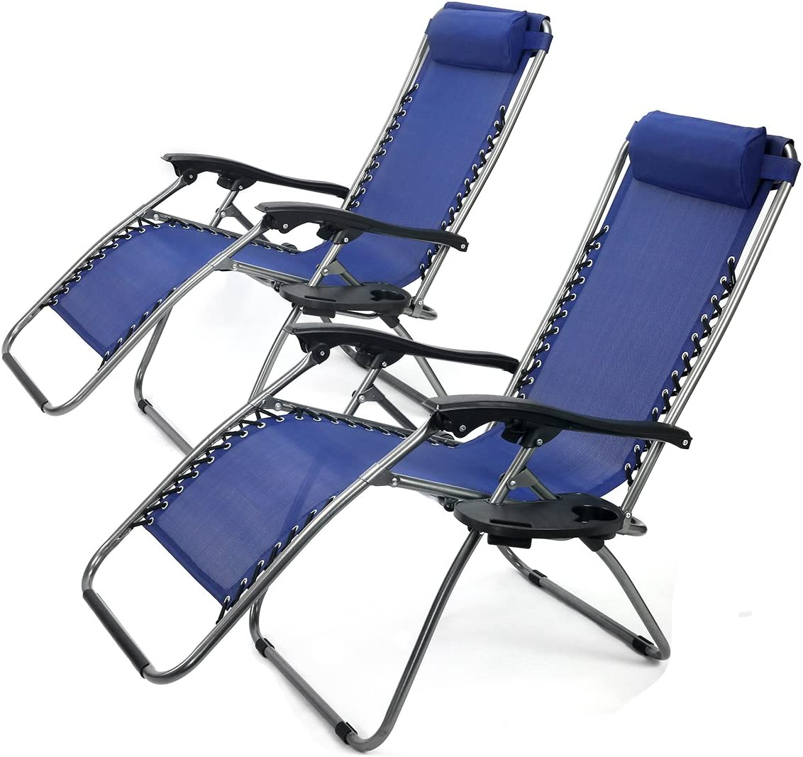 XtremepowerUS Zero Gravity Adjustable Reclining Chair Pool Patio Outdoor Lounge Chairs w Cup Holder – Set of Pair Navy