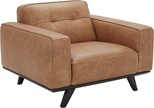 Amazon Brand Rivet Bigelow Modern Oversized Leather Accent Chair