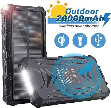 Sendowtek Batería Externa Solar 20000mAh, Batería Portátil Solar ...