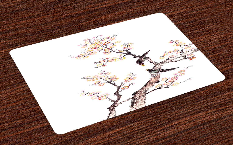 ABAKUHAUS Kunst Platzmatten, Traditionelle chinesische Farbe der Blumen Plum Blossom Vögel auf Baum Romance Print, Tiscjdeco aus Farbfesten Stoff für das Esszimmer und Küch, Hellgelb Braun