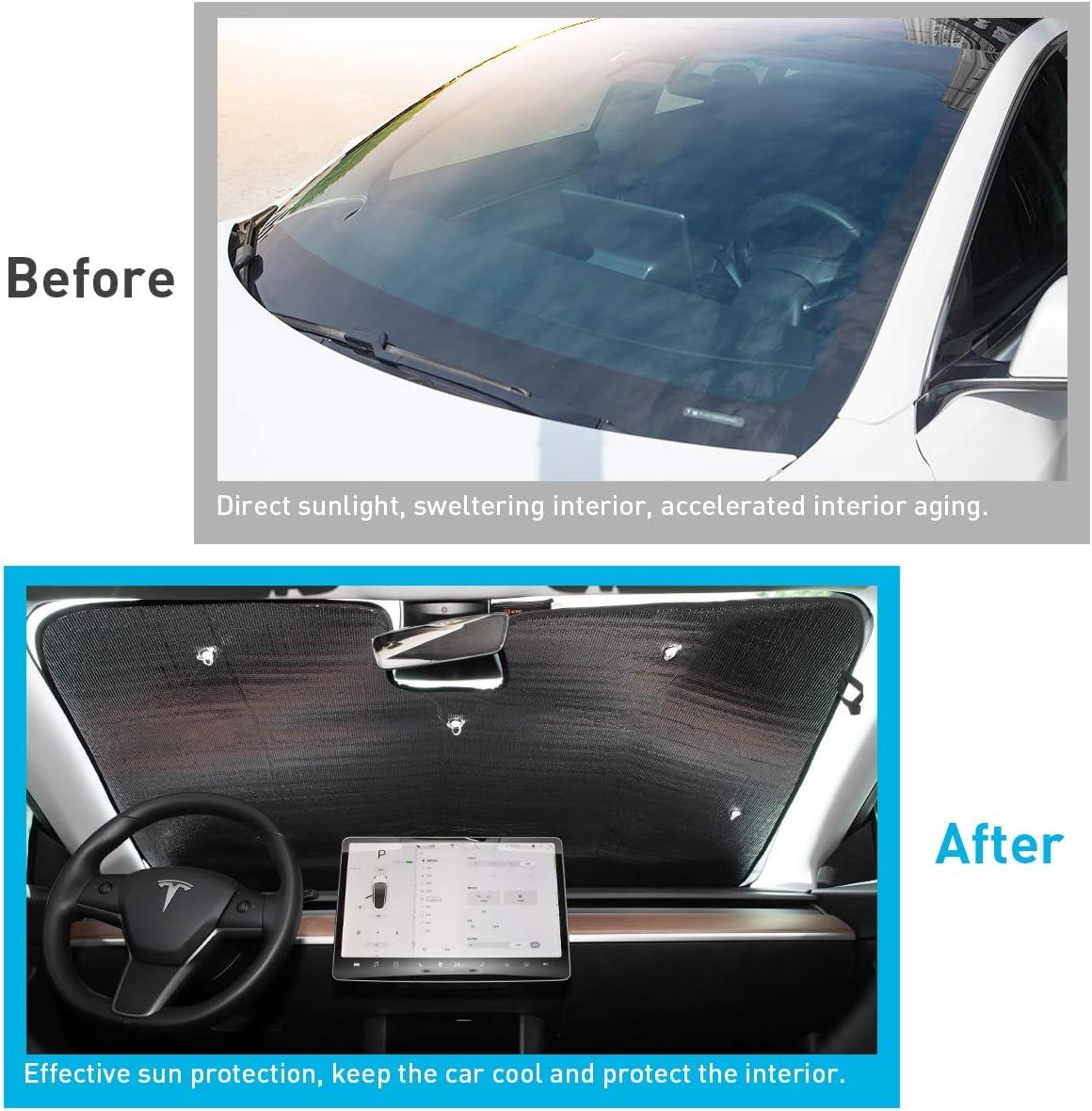 UV and Sun Protection Silver KFZMAN Dual-Sided Windowshield Sunshade for Tesla Model 3 2018-2020 Custom Fit Model 3 Sun Shade Front Windowshield