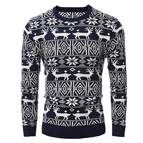 Amazon.com: Clearance Xmas Tops Jiayit Mens Christmas Elk Knit Xmas Long Sleeve Blouse Tops: Clothing