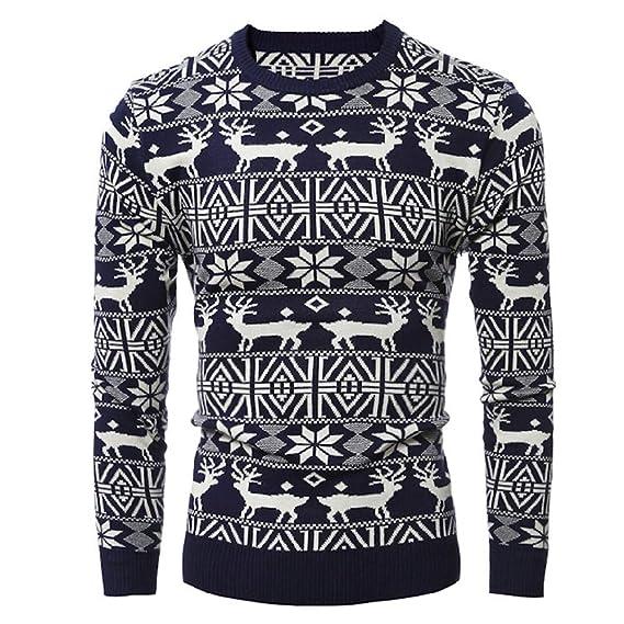 Yvelands Liquidación Suéteres navideños, Hombres Sudaderas activas Imprimir Imprimir Knit Cardigan Abrigo de Manga Larga de Navidad Tops: Amazon.es: Ropa y ...