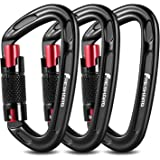 FresKaro UIAA Certified 25KN Auto Locking Climbing Carabiner Clips,Twist Lock and Heavy Duty Carabiners for Rock Climbing, Ra