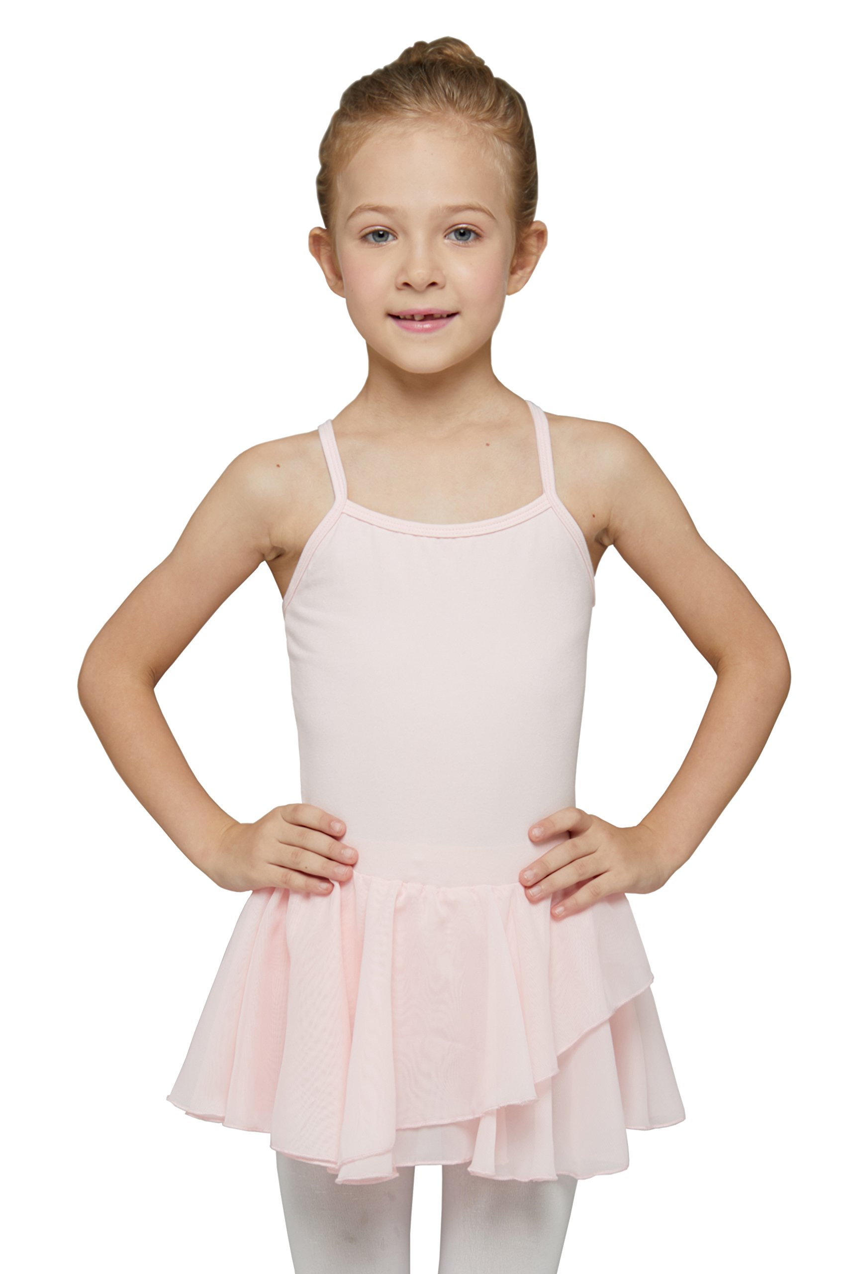MdnMd Girls' Skirted Camisole Leotard (Tag 110) Age 2T - 4T, Ballet Pink