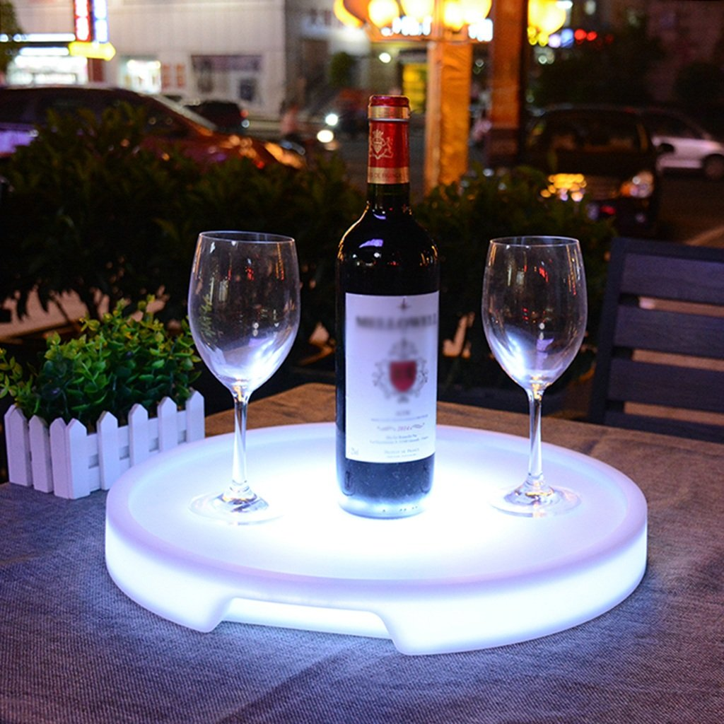 Augrous LED Plastic Serving Tray 16 Color Changing Wine Tray Circular Waterproof Rechargeable for Bar and Parties