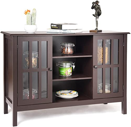 "Allblessings Brown TV Stand Storage Console Free Standing Wood Cabinet Holds Up To A 45"" TV"