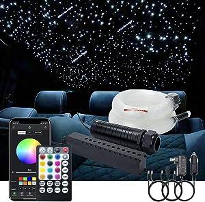 AKEPO 6W Car Home APP Control+Music Mode+Meteor Effect Fiber Optic Lights Star Ceiling Light Kit, RGBW Sound Sensor Light Source+Mixed Fiber Cable 430pcs(0.75+1+1.5mm)9.8ft/3m+28key Musical Remote